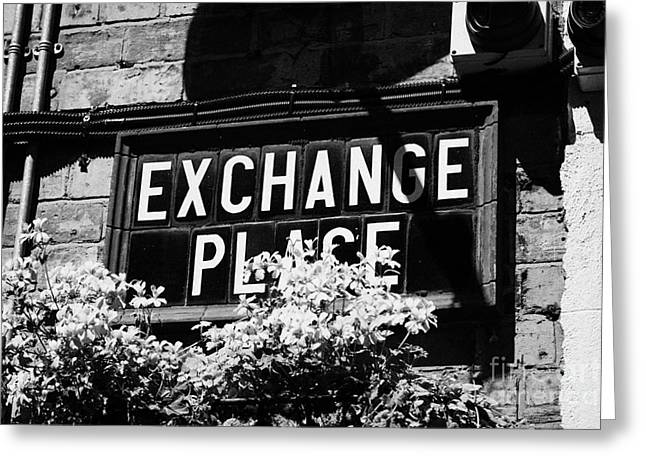 exchange place old Belfast city street names in cathedral quarter Northern Ireland UK Greeting Card by Joe Fox