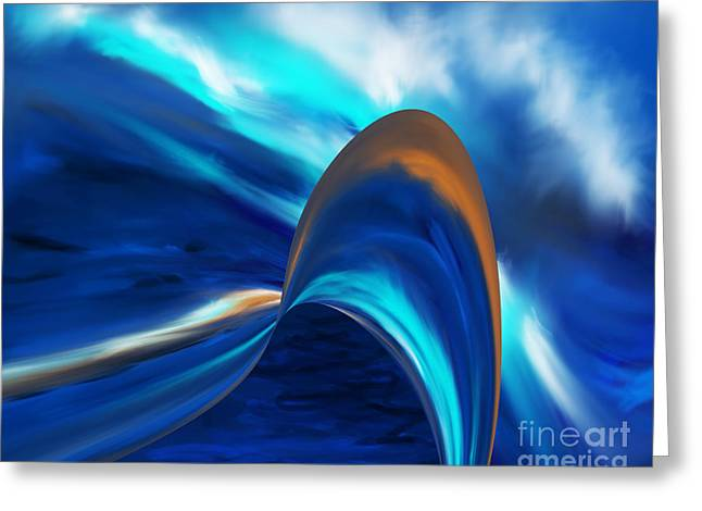 Turbulent Blue Skies Paintings Greeting Cards - Excited Greeting Card by Kathryn L Novak