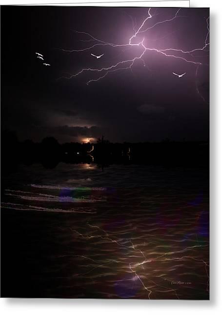 Photography Lightning Digital Art Greeting Cards - Exciting-Frightning-Lightning Greeting Card by EricaMaxine  Price