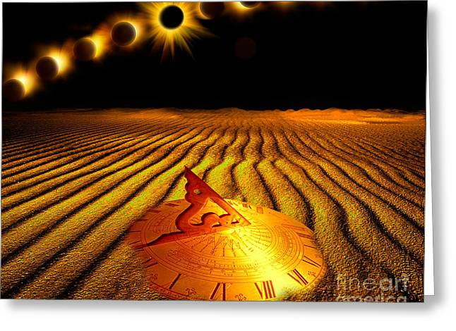 Solar Eclipse Greeting Cards - Exclipse Over Desert Greeting Card by Mike Agliolo