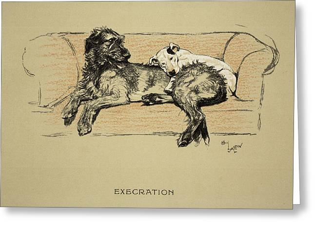 Terrier Dog Drawings Greeting Cards - Execration, 1930, 1st Edition Greeting Card by Cecil Charles Windsor Aldin