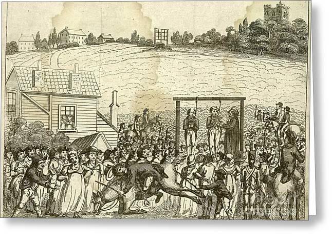 Black Woman Praying Greeting Cards - Execution By Hanging, 1800s Greeting Card by British Library