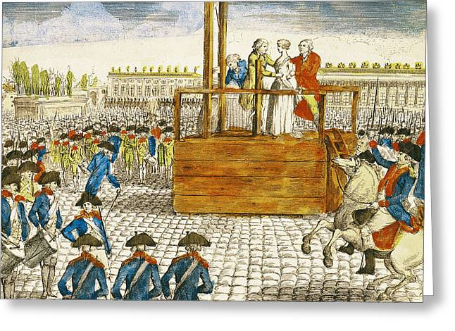 Drummers Photographs Greeting Cards - Execution Of Marie-antoinette 1755-93 In The Place De La Revolution, 16th October 1793 Coloured Greeting Card by French School