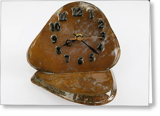 Desk Mixed Media Greeting Cards - Executive Desk Clock in Gold Moss Agate Natural Stone TOS3411 Greeting Card by W Bruce Watts