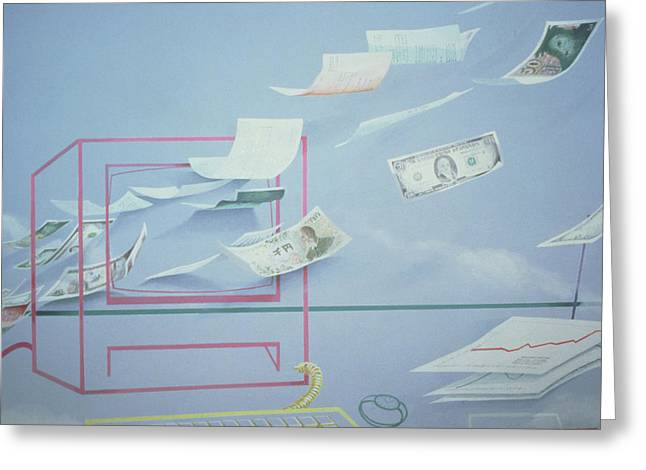 Dollars Greeting Cards - Executive Money I Greeting Card by Lincoln Seligman