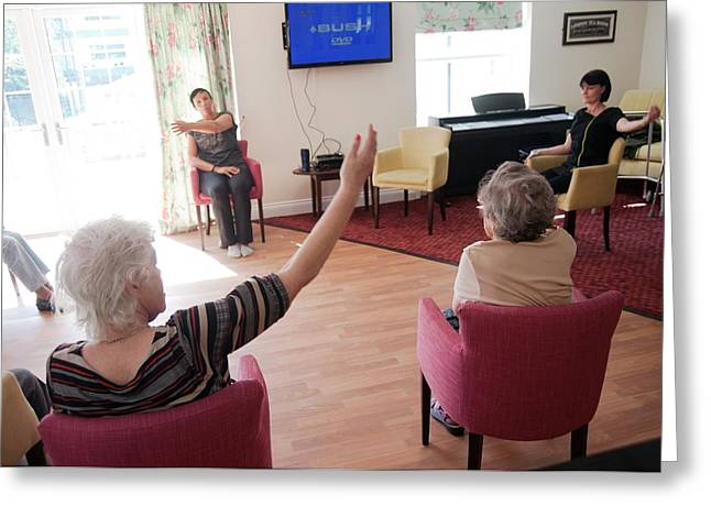 Exercise Class At A Care Home Greeting Card by John Cole