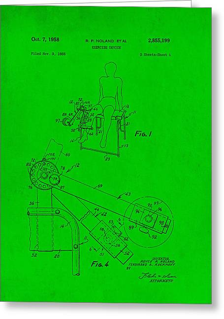 Exercise Drawings Greeting Cards - Exercise Machine Patent Greeting Card by Mountain Dreams