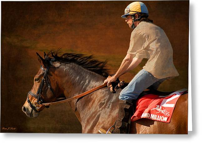 Race Horse Greeting Cards - Exercising Morty Greeting Card by Fran J Scott