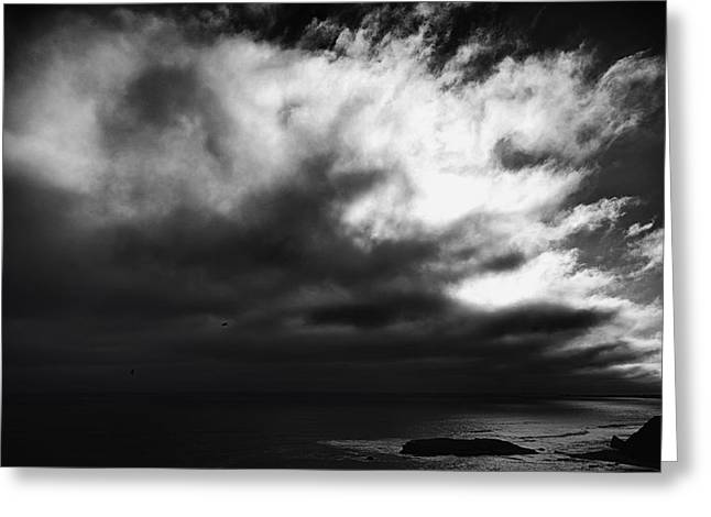 Recently Sold -  - Big Sur Beach Greeting Cards - Storm Clouds over Big Sur California in Black and White -- Exhale Greeting Card by Lynn Langmade