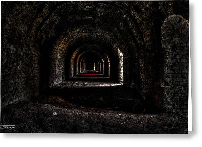 Caves Greeting Cards - Exhaust system of the abandoned stone factory Greeting Card by Chris Terwijn