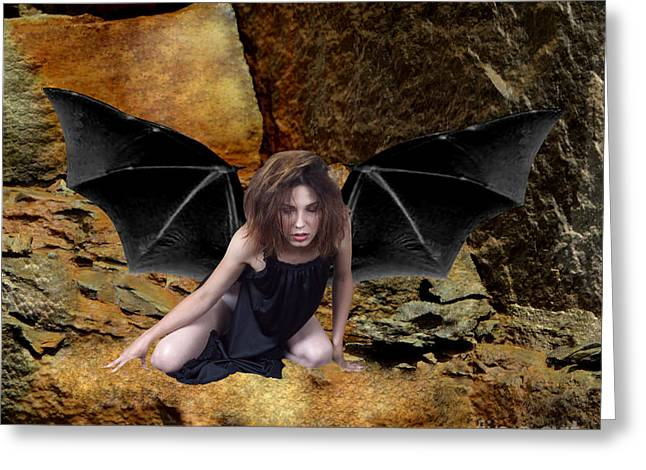 Dantzler Photo Art For Sale Greeting Cards - Exhausted Bat-winged Woman Greeting Card by Andrew Govan Dantzler