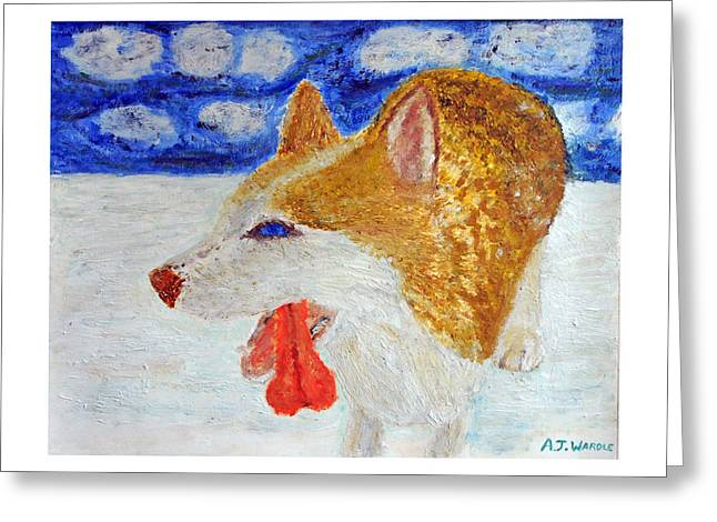 Dog In Snow Pastels Greeting Cards - Exhausted Husky in Snow Greeting Card by Adam Wardle