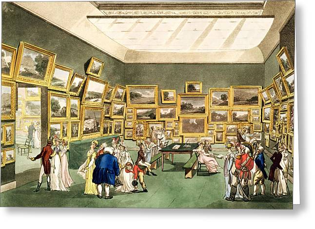 Interior Watercolour Greeting Cards - Exhibition Of Watercoloured Drawings Greeting Card by T. & Pugin, A.C. Rowlandson