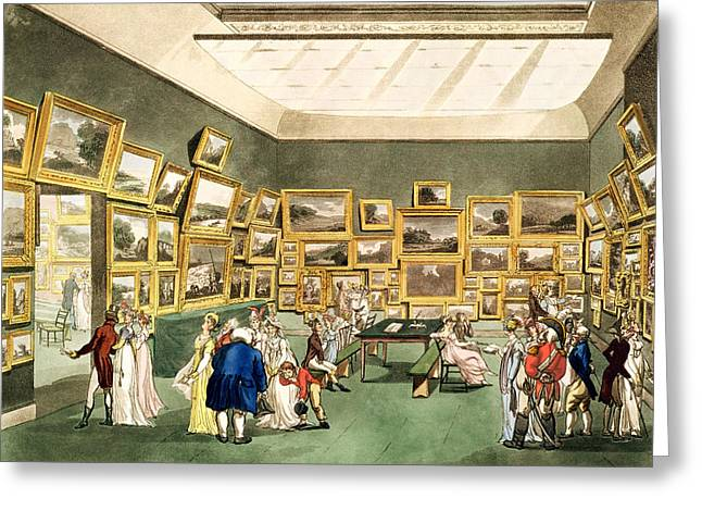 Exhibition Of Watercoloured Drawings Greeting Card by T and Pugin and AC Rowlandson