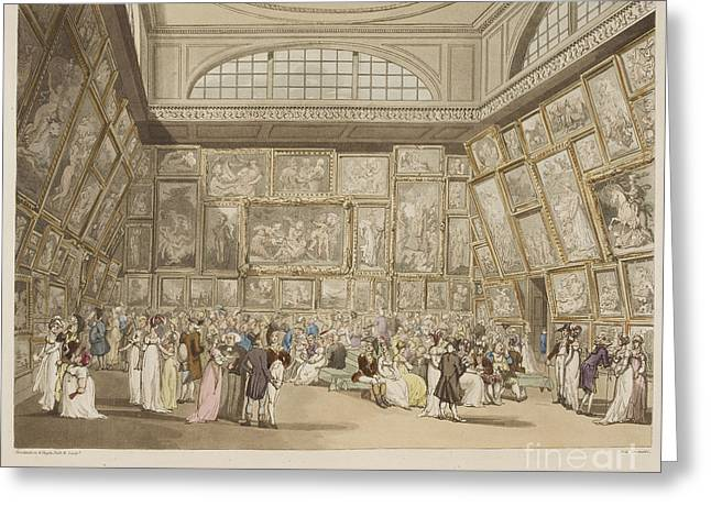 Rowlandson Greeting Cards - Exhibition Room Greeting Card by British Library