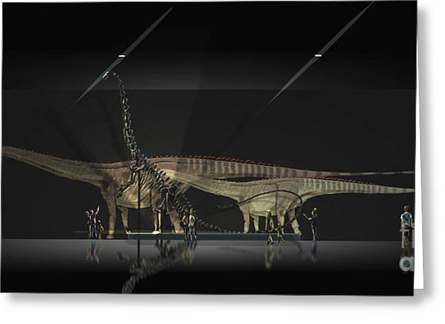 Visitors Digital Greeting Cards - Exhibition Space Featuring Diplodocus Greeting Card by Alice Turner