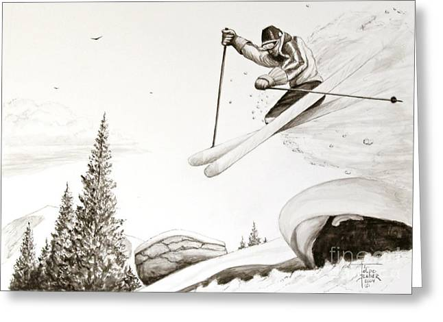 Skiing Posters Drawings Greeting Cards - Exilaration Greeting Card by Art By - Ti   Tolpo Bader