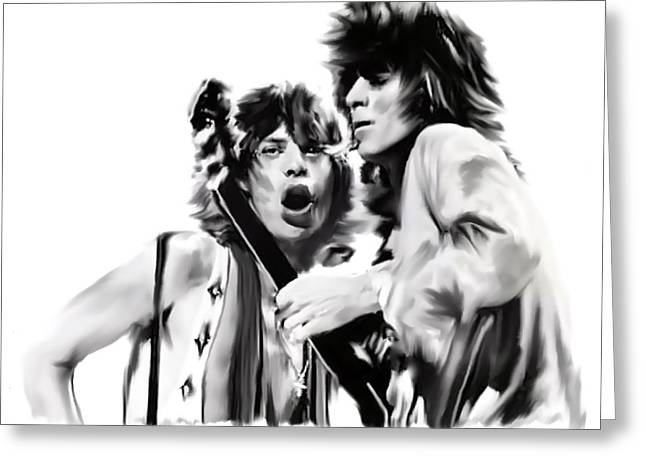 Work Drawings Greeting Cards - Exile  Mick Jagger and Keith Richards Greeting Card by Iconic Images Art Gallery David Pucciarelli