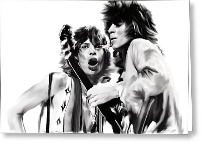 The Glimmer Twins Jagger And Richards Greeting Cards - Exile II Mick Jagger and Keith Richards Greeting Card by Iconic Images Art Gallery David Pucciarelli
