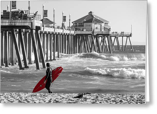 Existential Surfing At Huntington Beach Selective Color Greeting Card by Scott Campbell