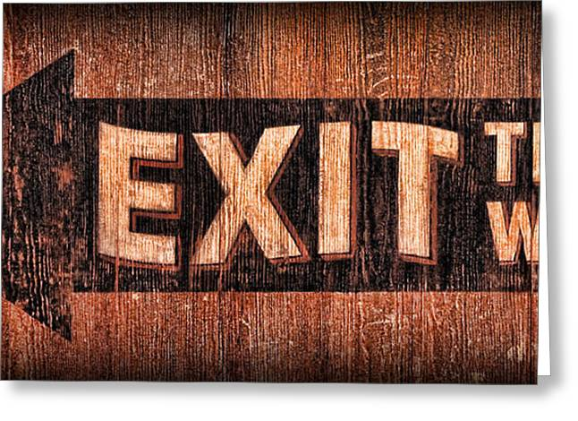 Exit Sign Greeting Cards - Exit Sign Greeting Card by Lee Dos Santos