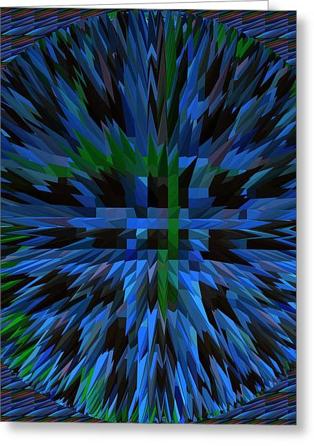 Pyramids Greeting Cards - Exlosion Extrusion Pyramid Abstract Digital Graphic Blue Background Designs  and Color Tones n Color Greeting Card by Navin Joshi