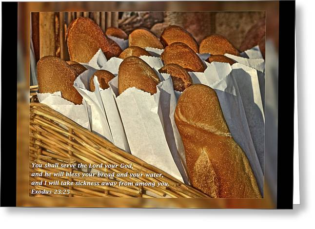 Exodus 23 25 Greeting Card by Dawn Currie