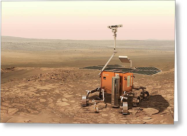 Exomars Rover On Mars Greeting Card by European Space Agency/aoes Medialab