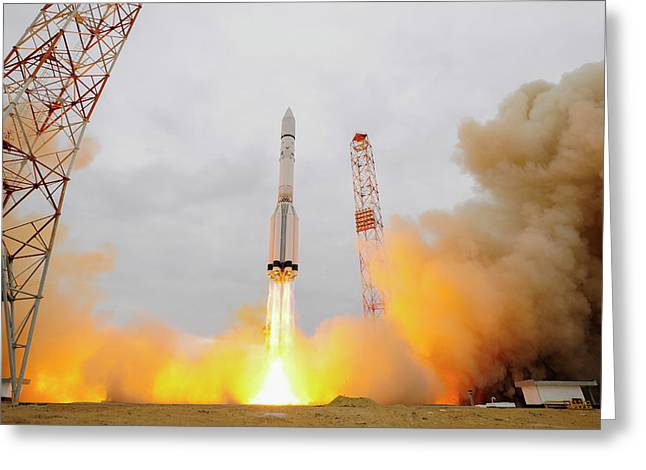 Exomars Spacecraft Launch Greeting Card by European Space Agency/stephane Corvaja