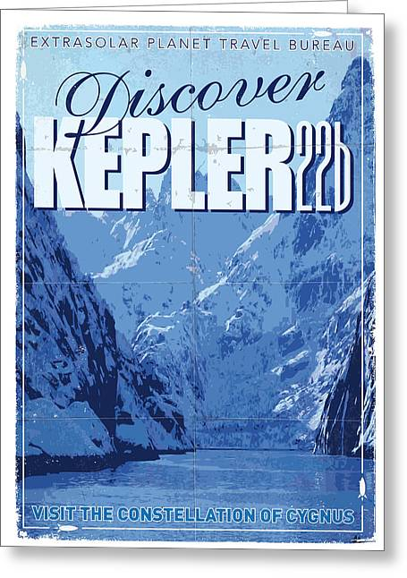 Planet Earth Greeting Cards - Exoplanet 02 Travel Poster KEPLER 22b Greeting Card by Chungkong Art
