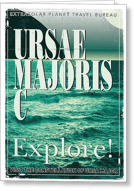 Science Fiction Greeting Cards - Exoplanet 03 Travel Poster Ursae Majoris Greeting Card by Chungkong Art