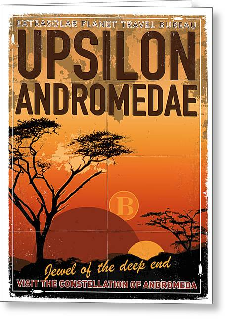 Andromeda Greeting Cards - Exoplanet 06 Travel Poster Upsilon Andromedae 4 Greeting Card by Chungkong Art