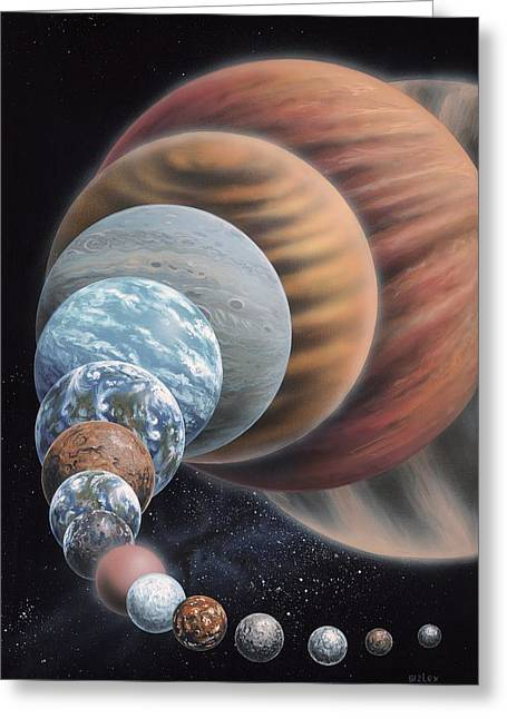 Extrasolar Planet Greeting Cards - Exoplanet types, artwork Greeting Card by Science Photo Library