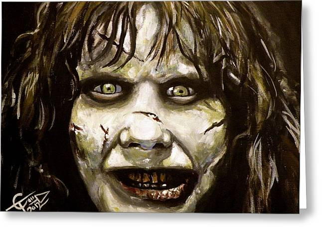 Classic Horror Greeting Cards - Exorcist Greeting Card by Tom Carlton
