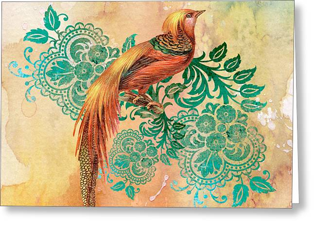 Abstract Digital Paintings Greeting Cards - Exotic Beauty-E Greeting Card by Jean Plout