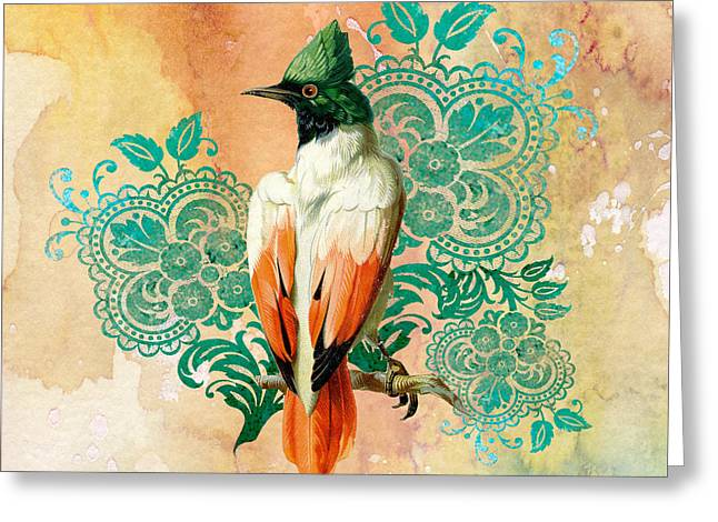 Abstract Digital Paintings Greeting Cards - Exotic Beauty-F Greeting Card by Jean Plout
