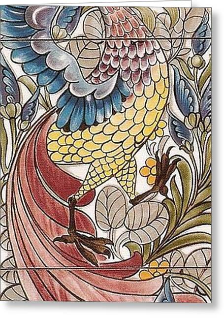 Wallpaper Tapestries Textiles Greeting Cards - Exotic Birds Pattern Greeting Card by Philip Ralley