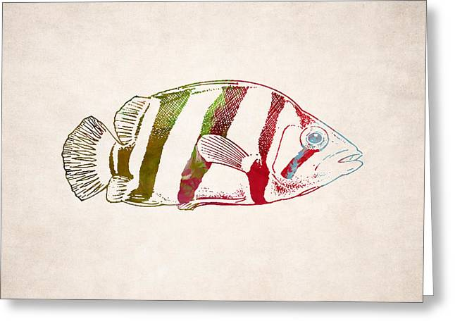 Creature Design Greeting Cards - Exotic Fish Drawing Greeting Card by World Art Prints And Designs