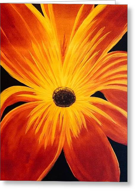 Shades Of Red Digital Art Greeting Cards - Exotic Flower Greeting Card by Amanda Batten