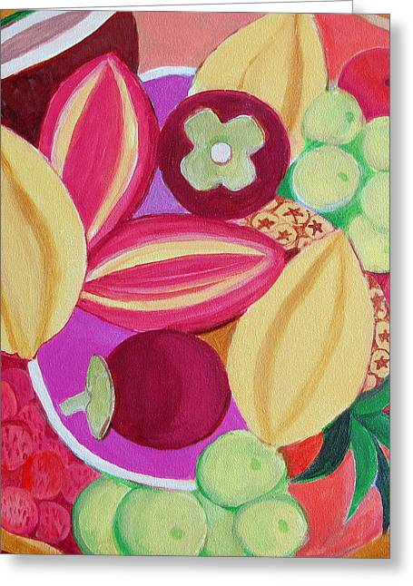 Mango Greeting Cards - Exotic Fruit Bowl Greeting Card by Toni Silber-Delerive