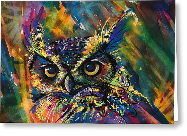 Abstract Owl Greeting Cards - Expanding Consciousness Greeting Card by Sharlena Wood