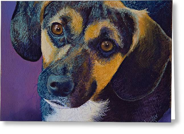 Puppies Pastels Greeting Cards - Expectations Greeting Card by Tracy L Teeter