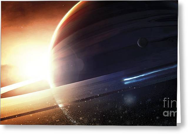 Ring Systems Greeting Cards - Expedition To A Saturn-like Planet Greeting Card by Tobias Roetsch