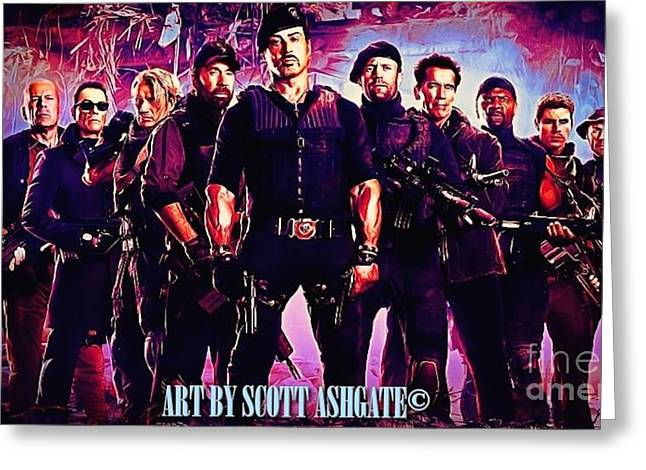 Wilis Greeting Cards - Expendables Greeting Card by Scott Ashgate