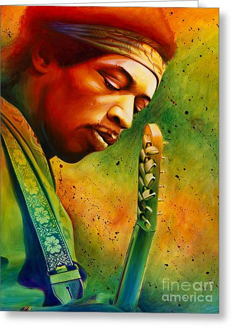 Jimi Hendrix Paintings Greeting Cards - Experienced  Greeting Card by Scott Spillman