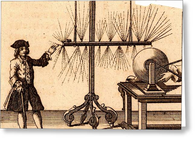 Experiment With Static Electricity Greeting Card by Universal History Archive/uig