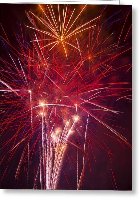 4th July Photographs Greeting Cards - Exploding Fireworks Greeting Card by Garry Gay