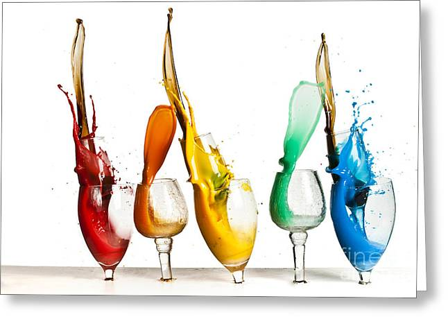 Shot Glass Greeting Cards - Exploding glasses of paint 1 Greeting Card by Guy Viner