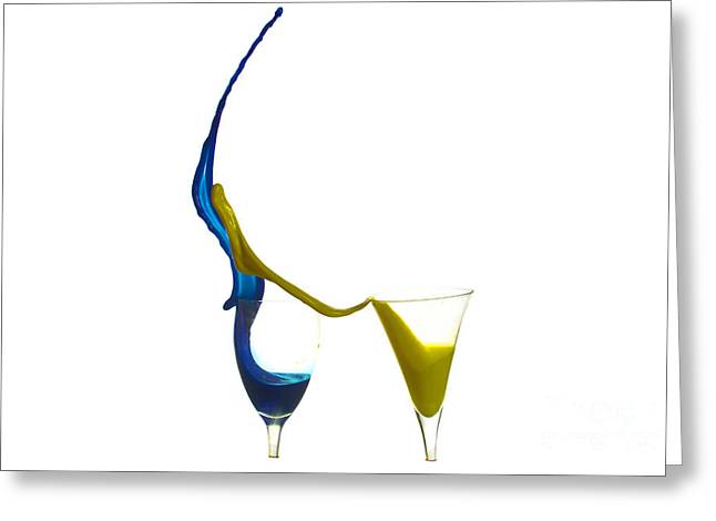 Shot Glass Greeting Cards - Exploding glasses of paint 2 Greeting Card by Guy Viner