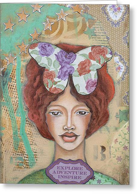 Discovery Mixed Media Greeting Cards - Explore Adventure Inspire Inspirational Art Greeting Card by Stanka Vukelic